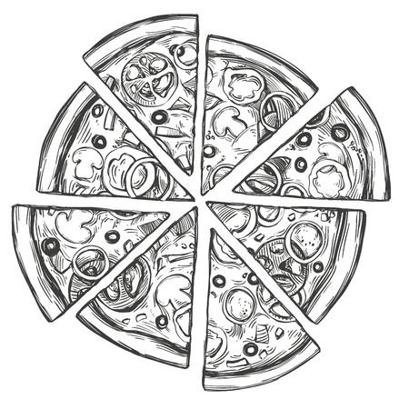Italian pizza, Pizza design template hand drawn vector illustration realistic sketch Vectores