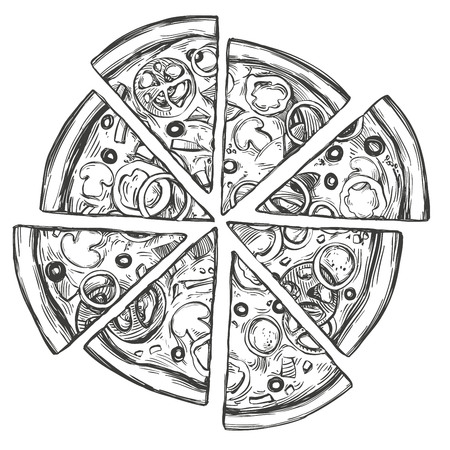 Italian pizza, Pizza design template hand drawn vector illustration realistic sketch Vettoriali