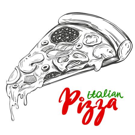 Italian pizza slice , Pizza design template hand drawn vector illustration realistic sketch