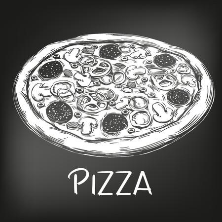 Italian pizza , drawn in white chalk on a black background, Pizza design template, logo, hand drawn vector illustration realistic sketch