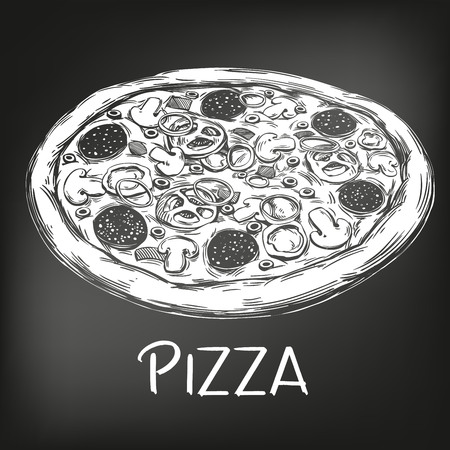 Italian pizza , drawn in white chalk on a black background, Pizza design template, logo, hand drawn vector illustration realistic sketch