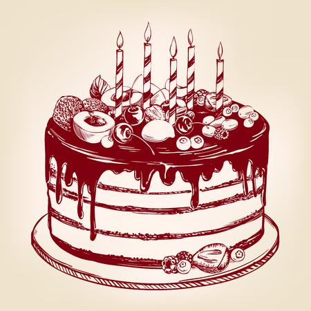 fruit cake, birthday, dessert, symbol of the holiday, hand drawn vector illustration realistic sketch