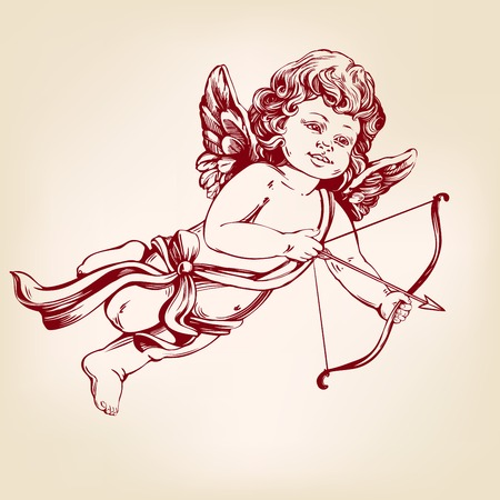 angel , little baby. Cupid shoots a bow with an arrow, Valentines day, greeting card hand drawn vector illustration realistic sketch.