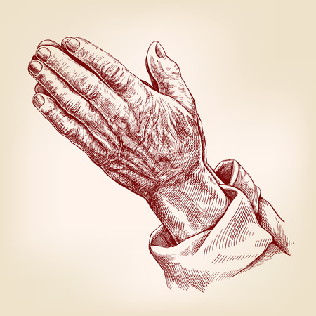 Praying Hands , symbol of Christianity hand drawn vector illustration realistic sketch.