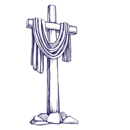 Christian wooden cross. Easter . symbol of Christianity hand drawn vector illustration