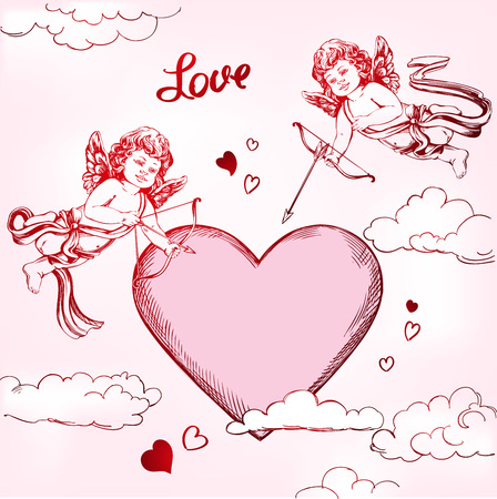 angel, amyr little baby set. Cupid shoots a bow with an arrow at the heart, love, Valentine  day, greeting card hand drawn vector illustration realistic sketch Illustration