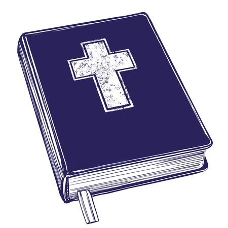Bible, gospel, the doctrine of Christianity, symbol of Christianity. Hand drawn vector illustration sketch.  イラスト・ベクター素材