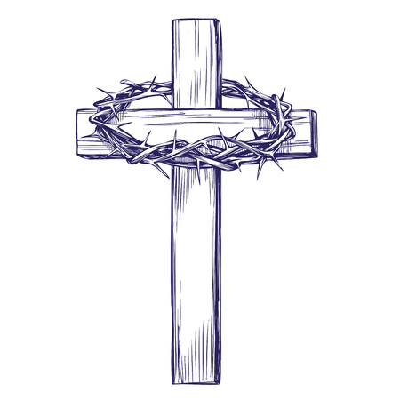 crown of thorns, wooden cross. Easter . symbol of Christianity hand drawn vector illustration sketch
