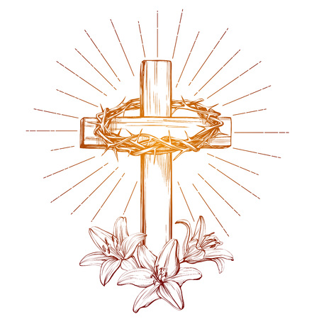 crown of thorns, wooden cross and floral blooming lilies, Easter. Symbol of Christianity, hand drawn vector illustration, sketch.