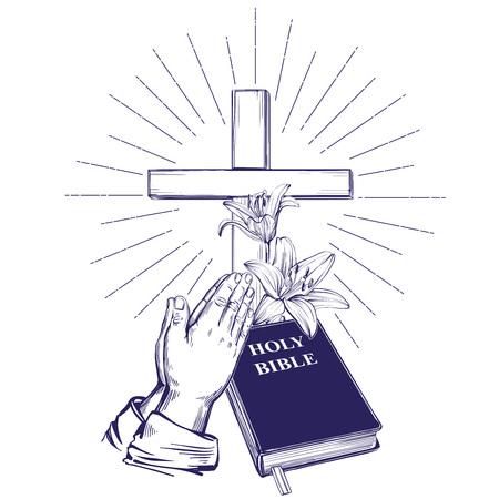 Mains prières, Bible, évangile, couronne d'épines, croix en bois. Pâques . symbole du christianisme croquis d'illustration vectorielle dessinés à la main