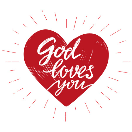 God loves you the quote on the background of the heart, calligraphic text symbol of Christianity hand drawn vector illustration sketch