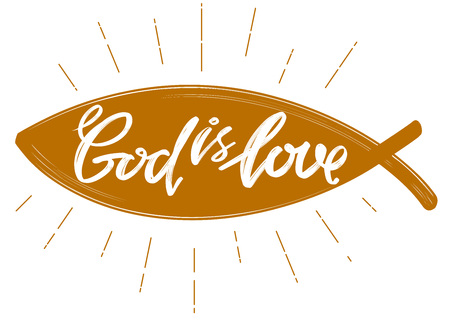 God is love the quote on the background of the heart, calligraphic text symbol of Christianity hand drawn vector illustration sketch.