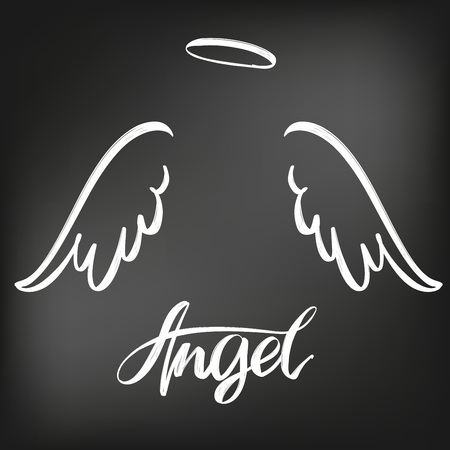 Angel wings icon sketch collection, religious calligraphic text symbol drawn in chalk on a black Board.