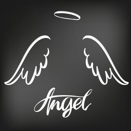 Accumulazione di schizzo dell'icona delle ali di angelo, gesso del simbolo disegnato testo religioso calligrafico su un bordo nero.
