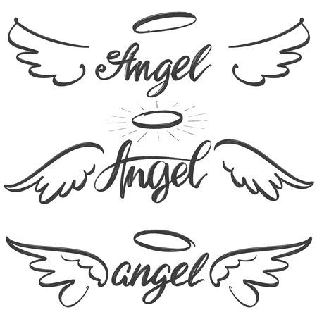 Collezione di schizzo icona ali d'angelo, simbolo di testo calligrafico religioso del cristianesimo. Schizzo di illustrazione vettoriale disegnato a mano Vettoriali