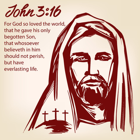 Jesus Christ, the Son of God, John 3:16 the quote calligraphic text symbol of Christianity hand drawn vector illustration sketch