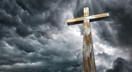 Cross against the sky. Happy Easter. Christian symbol 스톡 콘텐츠