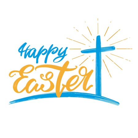 Happy Easter holiday religious calligraphic text, cross symbol of Christianity hand drawn vector illustration sketch