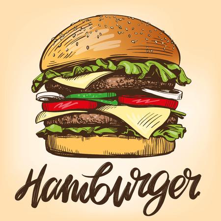 duży burger, hamburger ręcznie rysowane ilustracji wektorowych Ilustracje wektorowe