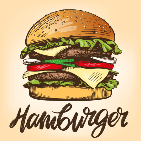 big burger, hamburger hand drawn vector illustration Stock Illustratie
