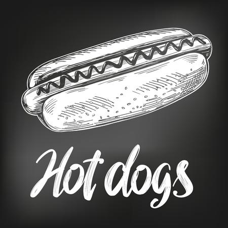 Comida rápida de hot dog, boceto de ilustración vectorial dibujado a mano. menú de tiza estilo retro