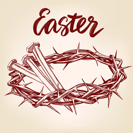 A crown of thorns, nails, easter religious symbol of Christianity hand drawn vector illustration sketch