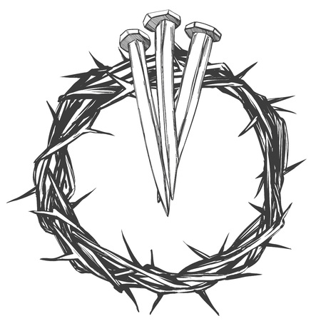Crown with thorns and nails religious symbol hand drawn vector illustration sketch 일러스트