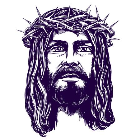 Jesus Christ, the Son of God, symbol of Christianity hand drawn vector illustration sketch. Illustration