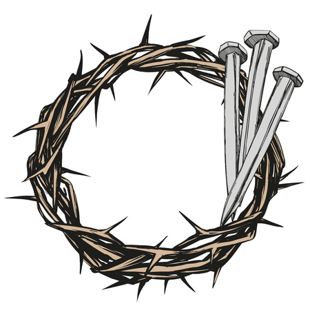 crown of thorns, nails, easter religious symbol of Christianity hand drawn vector illustration sketch