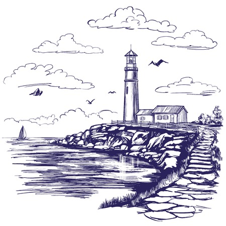 Lighthouse and sea landscape hand drawn vector illustration sketch