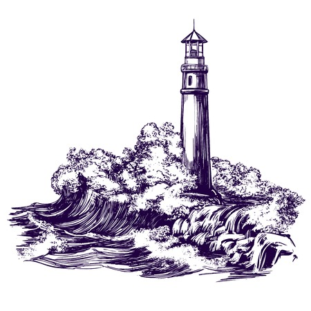 Lighthouse and sea landscape, storm hand drawn vector illustration realistic sketch Illustration