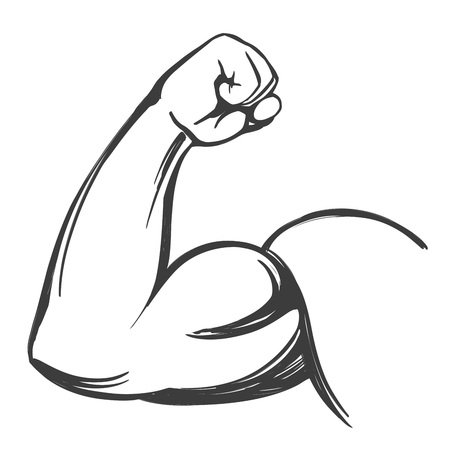 arm, bicep, strong hand icon cartoon hand drawn vector illustration sketch Vettoriali