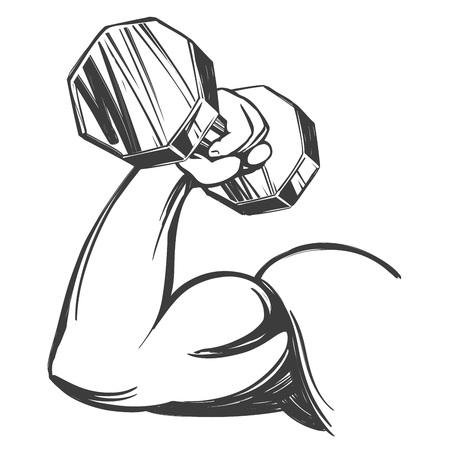 Brazo, bíceps, mano fuerte sosteniendo una pesa, icono de dibujos animados dibujados a mano ilustración vectorial boceto Ilustración de vector