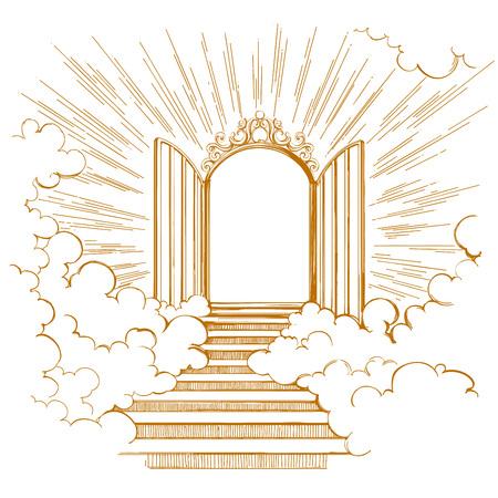 Portes du paradis, entrée de la ville céleste, rencontre avec Dieu, symbole du christianisme croquis d'illustration vectorielle dessinés à la main