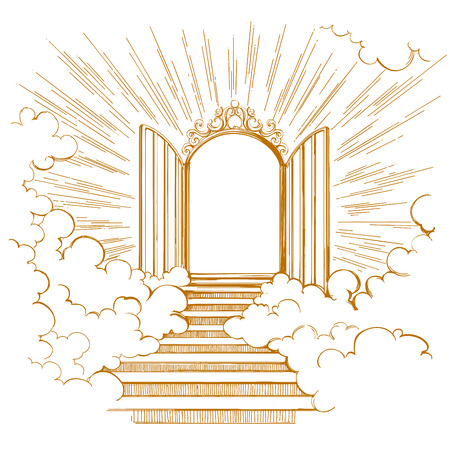 Gates of Paradise, entrance to the heavenly city, meeting with God, symbol of Christianity hand drawn vector illustration sketch