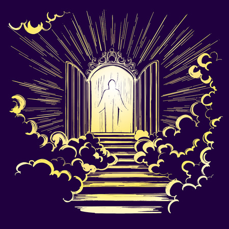 Gates of paradise, entrance to the heavenly city, meeting with God, symbol of Christianity hand drawn vector illustration sketch. Vettoriali