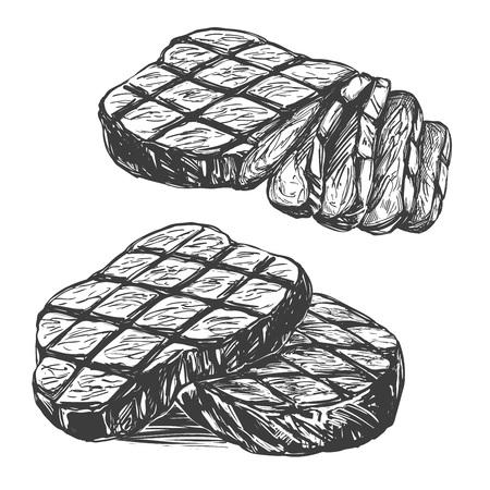 Food meat, steak, roast set hand drawn vector illustration realistic sketch