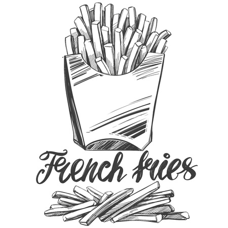 French fries , fastfood, logo, and drawn vector illustration realistic sketch Çizim