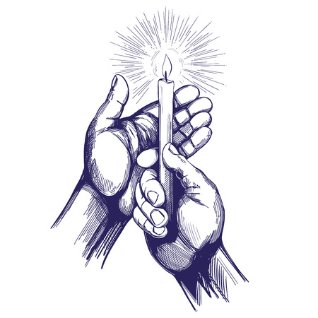 hand holds burning candle shines in the dark hand drawn vector illustration realistic sketch Stock Illustratie