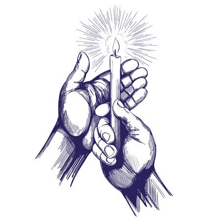 hand houdt brandende kaars schijnt in het donker hand getekende vector illustratie realistische sketch