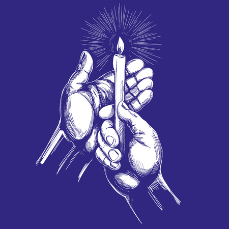 Hand holds burning candle shines in the dark hand drawn vector illustration realistic sketch