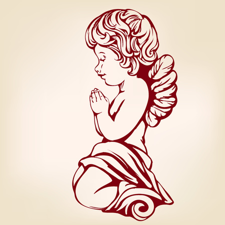 Angel prays on his knees, hand drawn vector illustration realistic sketch.