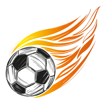 football, soccer ball flame, sports game, emblem sign hand drawn vector illustration sketch Stok Fotoğraf - 102618793