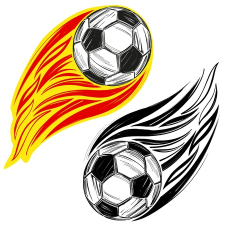football, soccer ball flame, sports game, emblem sign hand drawn vector illustration sketch Vectores