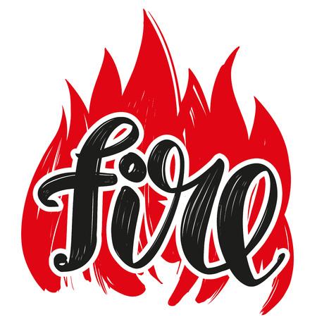 fire emblem, calligraphic text, emblem sign, hand drawn vector illustration sketch Illustration