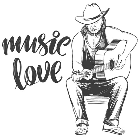 guitarist plays guitar, love music, calligraphy text hand drawn vector illustration realistic sketch Illustration