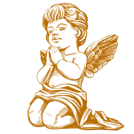 anioł modli się na kolanach ręcznie rysowane ilustracji wektorowych realistyczny szkic Ilustracje wektorowe
