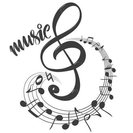 musical notes icon, love music, calligraphy text hand drawn vector illustration sketch.