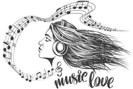 musical notes in the form of a heart icon, love music, calligraphy text hand drawn vector illustration sketch.