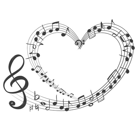 musical notes in the form of a heart icon, love music hand drawn vector illustration sketch.
